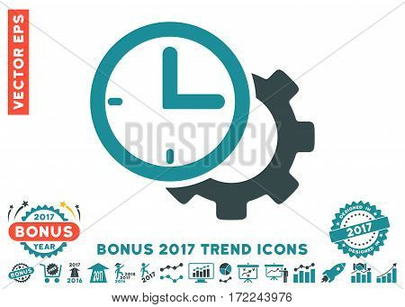 Soft Blue Time Setup Gear icon with bonus 2017 year trend design elements. Vector illustration style is flat iconic bicolor symbols white background.