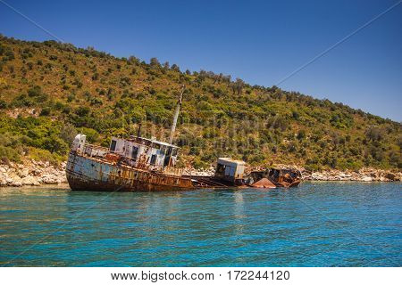 The shipwreck into Alonissos National Marine Park on August 2016 Greece