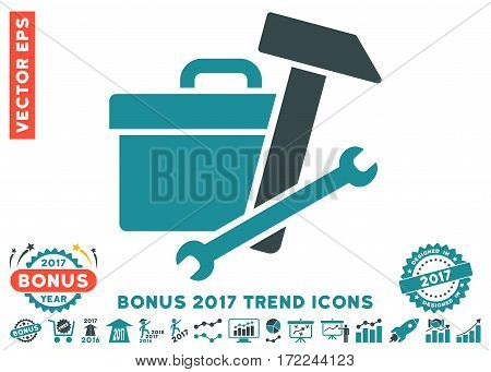 Soft Blue Toolbox pictograph with bonus 2017 trend clip art. Vector illustration style is flat iconic bicolor symbols white background.