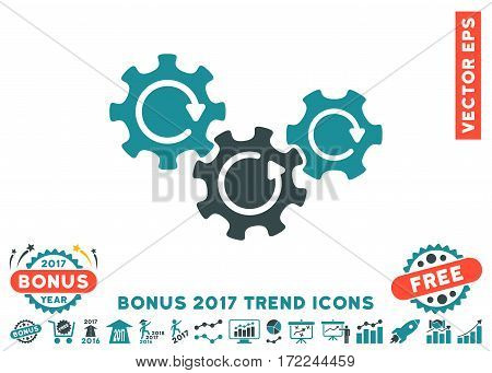 Soft Blue Transmission Gears Rotation pictograph with bonus 2017 trend design elements. Vector illustration style is flat iconic bicolor symbols white background.
