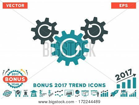Soft Blue Transmission Wheels Rotation pictograph with bonus 2017 trend pictograms. Vector illustration style is flat iconic bicolor symbols white background.