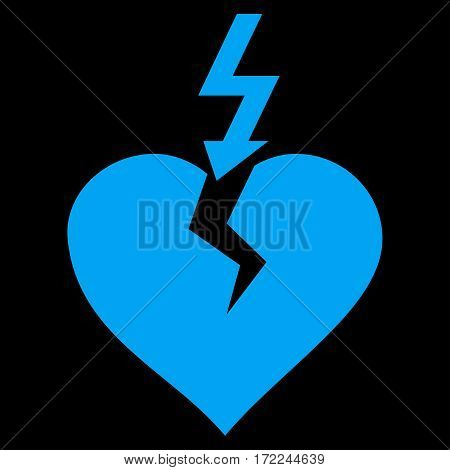 Break Heart flat icon. Vector blue symbol. Pictograph is isolated on a black background. Trendy flat style illustration for web site design logo ads apps user interface.
