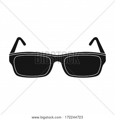 Glasses icon in black design isolated on white background. Library and bookstore symbol stock vector illustration.
