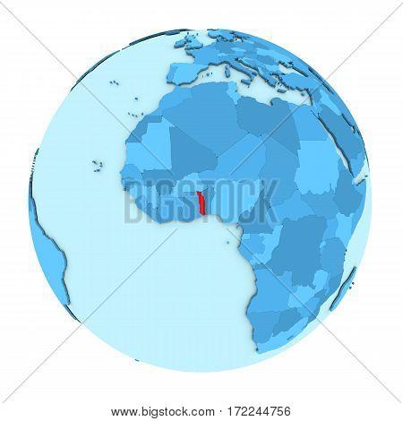 Togo On Globe Isolated