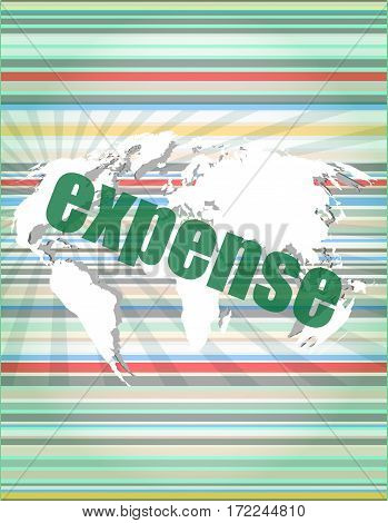 word expense on digital screen business concept