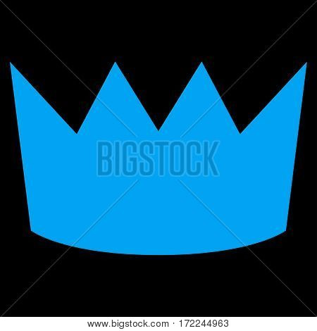 Crown flat icon. Vector blue symbol. Pictograph is isolated on a black background. Trendy flat style illustration for web site design logo ads apps user interface.