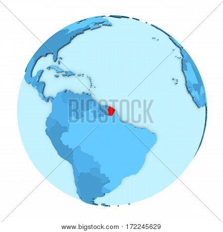 French Guiana On Globe Isolated