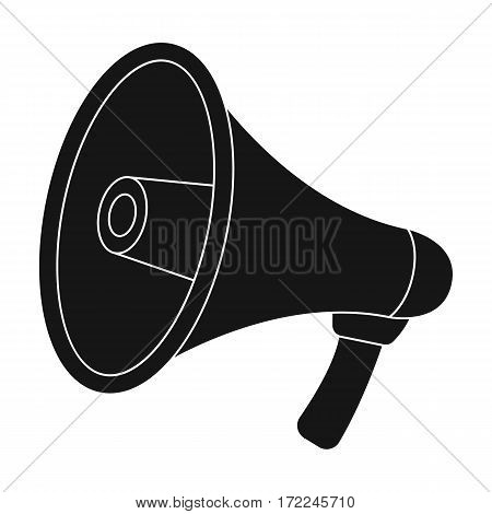 Megaphone icon in black design isolated on white background. Police symbol stock vector illustration.