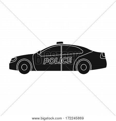 Police car icon in black design isolated on white background. Police symbol stock vector illustration.
