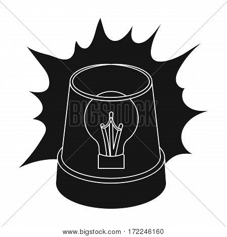 Emergency rotating beacon light icon in black design isolated on white background. Police symbol stock vector illustration.