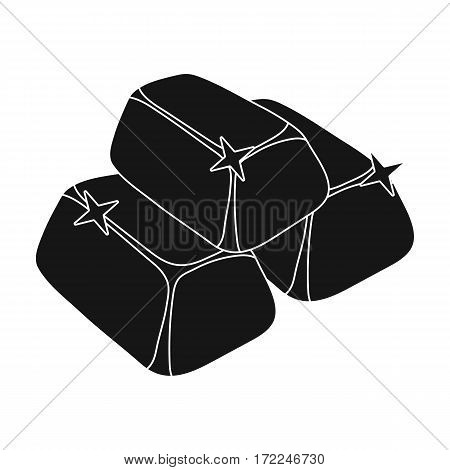 Stack of golden bars icon in black design isolated on white background. Precious minerals and jeweler symbol stock vector illustration.
