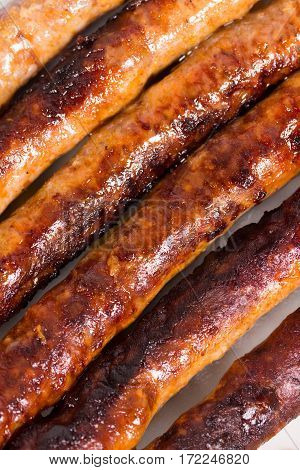 Bbq Grilled Domestic Sausages On The Plate