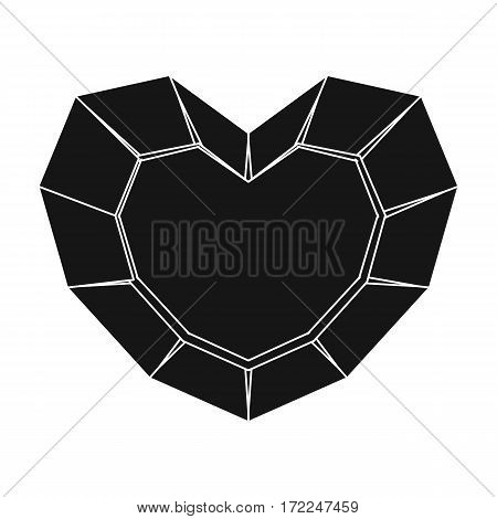Heart-shaped gemstone icon in black design isolated on white background. Precious minerals and jeweler symbol stock vector illustration.