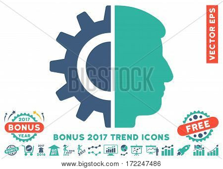 Cobalt And Cyan Android Robotics pictogram with bonus 2017 trend pictures. Vector illustration style is flat iconic bicolor symbols white background.