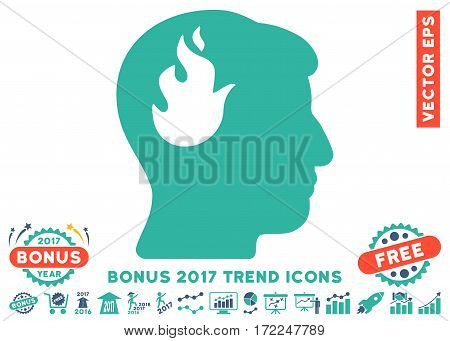 Cobalt And Cyan Brain Fire icon with bonus 2017 trend pictograph collection. Vector illustration style is flat iconic bicolor symbols white background.