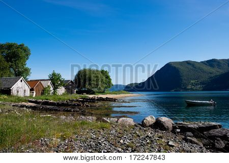 Small boat houses on the west coast on Norway