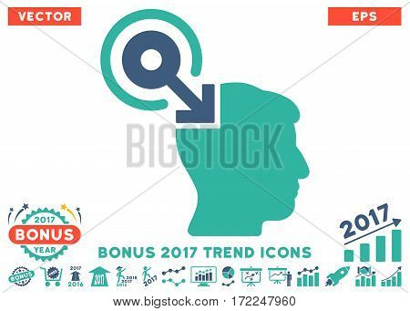 Cobalt And Cyan Brain Interface Plug-In pictogram with bonus 2017 year trend icon set. Vector illustration style is flat iconic bicolor symbols white background.