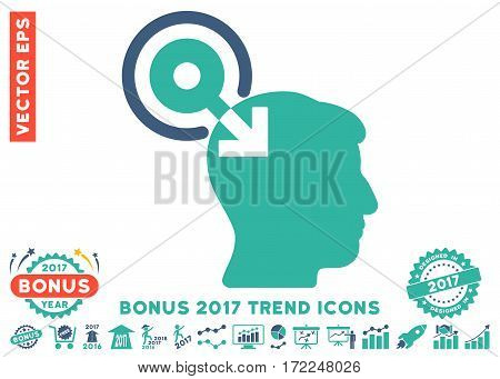 Cobalt And Cyan Brain Interface Plug-In pictogram with bonus 2017 trend elements. Vector illustration style is flat iconic bicolor symbols white background.