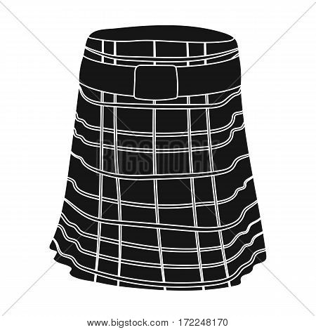 Kilt icon in black design isolated on white background. Scotland country symbol stock vector illustration.