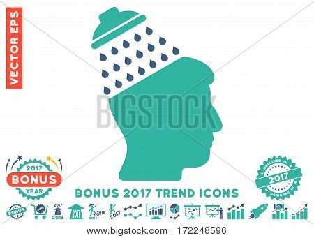 Cobalt And Cyan Brain Shower pictograph with bonus 2017 trend pictograph collection. Vector illustration style is flat iconic bicolor symbols white background.