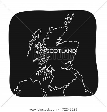 Territory of Scotland icon in black design isolated on white background. Scotland country symbol stock vector illustration.