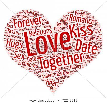 Tag cloud on the subject of love in a heart shape