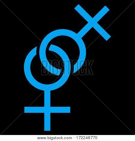 Lesbian Love Symbol flat icon. Vector blue symbol. Pictogram is isolated on a black background. Trendy flat style illustration for web site design logo ads apps user interface.