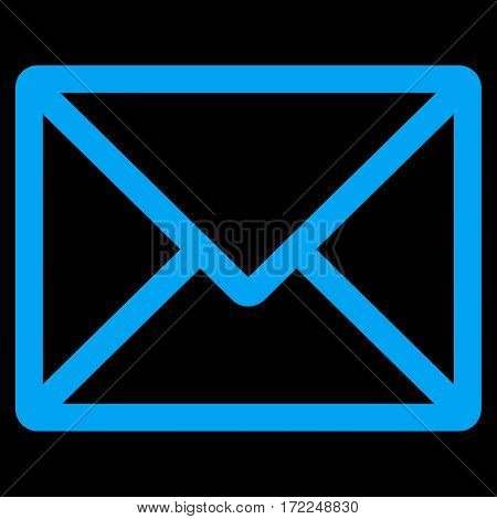 Letter flat icon. Vector blue symbol. Pictograph is isolated on a black background. Trendy flat style illustration for web site design logo ads apps user interface.