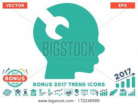 Cobalt And Cyan Brain Wrench Tool icon with bonus 2017 trend elements. Vector illustration style is flat iconic bicolor symbols white background.