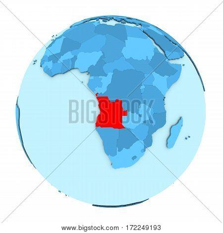 Angola On Globe Isolated