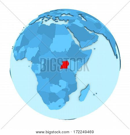 Uganda On Globe Isolated