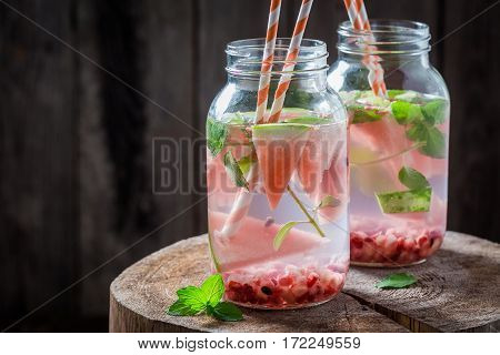 Fruity Water In Jar With Pomegranate And Watermelon