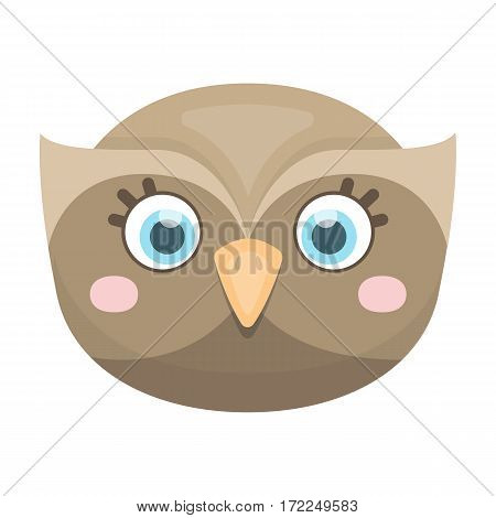 Owl muzzle icon in cartoon design isolated on white background. Animal muzzle symbol stock vector illustration.