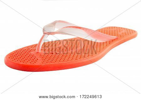 Red Rubber flip-flops isolated on white background
