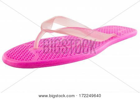 Pink Rubber flip-flops isolated on white background