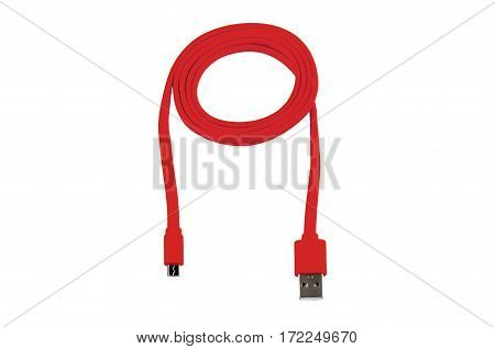 red usb-cable micro usb isolated on white background
