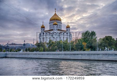 Moscow summer landscape with river and church of Christ Saviour