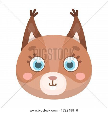 Squirrel muzzle icon in cartoon design isolated on white background. Animal muzzle symbol stock vector illustration.
