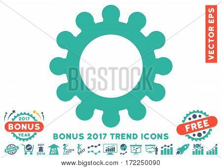 Cobalt And Cyan Cog pictograph with bonus 2017 trend pictograph collection. Vector illustration style is flat iconic bicolor symbols white background.