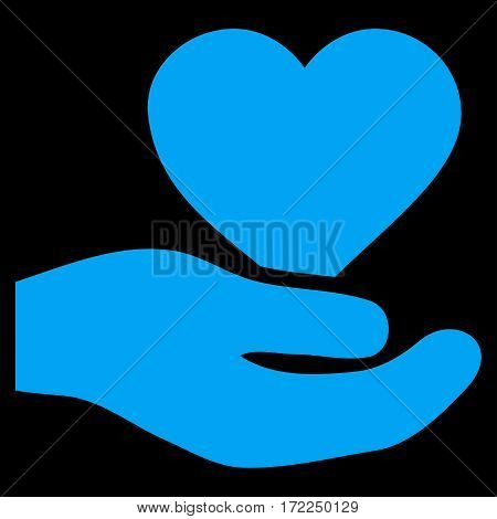 Love Heart Offer Hand flat icon. Vector blue symbol. Pictograph is isolated on a black background. Trendy flat style illustration for web site design logo ads apps user interface.