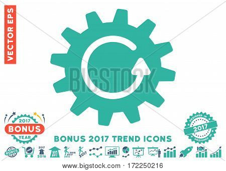 Cobalt And Cyan Cogwheel Rotation pictograph with bonus 2017 year trend pictograph collection. Vector illustration style is flat iconic bicolor symbols white background.