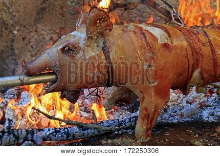 Suckling pig on a rotating spit with fire in the background