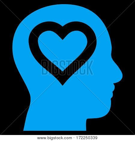 Love In Head flat icon. Vector blue symbol. Pictograph is isolated on a black background. Trendy flat style illustration for web site design logo ads apps user interface.