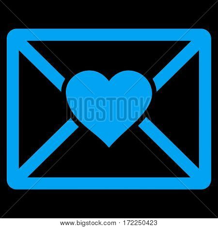 Love Letter flat icon. Vector blue symbol. Pictogram is isolated on a black background. Trendy flat style illustration for web site design logo ads apps user interface.