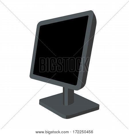 Computer monitor icon in cartoon design isolated on white background. Personal computer accessories symbol stock vector illustration.
