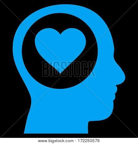 Love Thinking Head flat icon. Vector blue symbol. Pictograph is isolated on a black background. Trendy flat style illustration for web site design logo ads apps user interface.