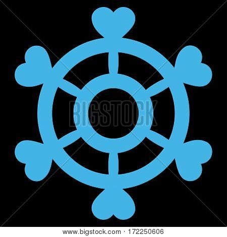 Lovely Boat Steering Wheel flat icon. Vector blue symbol. Pictograph is isolated on a black background. Trendy flat style illustration for web site design logo ads apps user interface.