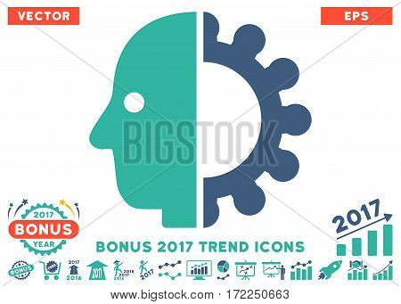 Cobalt And Cyan Cyborg Head icon with bonus 2017 trend pictograms. Vector illustration style is flat iconic bicolor symbols white background.