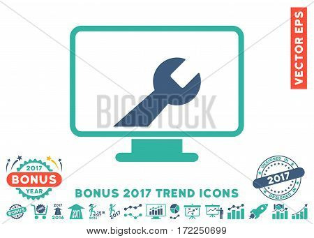 Cobalt And Cyan Desktop Options pictograph with bonus 2017 trend pictograph collection. Vector illustration style is flat iconic bicolor symbols white background.