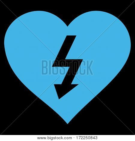 Power Love Heart flat icon. Vector blue symbol. Pictograph is isolated on a black background. Trendy flat style illustration for web site design logo ads apps user interface.